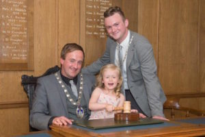 Cllr Matt Rogers with Consort and daughter 2015